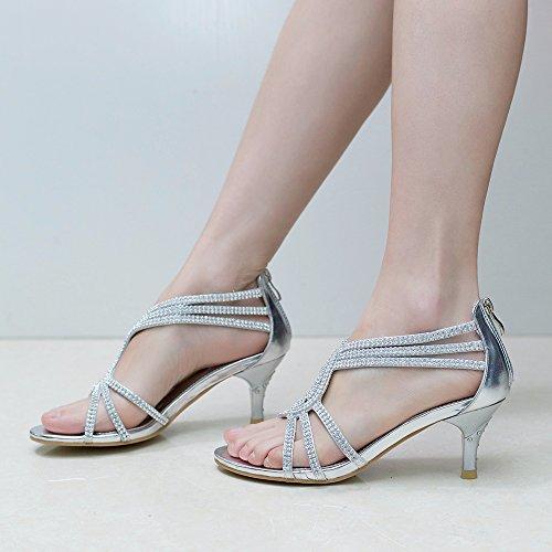 SheSole Womens Metallic Low Heels Sandals Rhinestones
