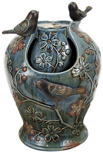 Nature's Garden Tabletop Garden Fountain, Verdigris Songbirds