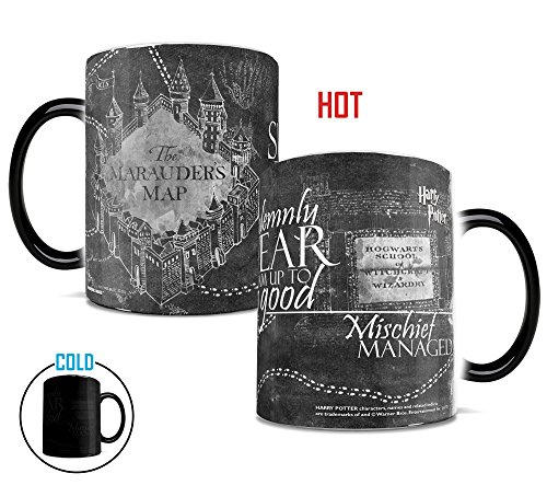 Morphing Mugs Harry Potter Hogwarts Magical Marauder's Map Heat Reveal Ceramic Coffee Mug - 11 Ounce (Black and White Reveal) (Black White Coffee Mug compare prices)