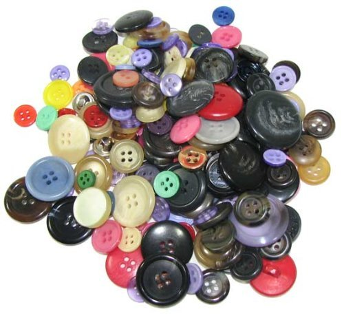 Bag of (100) Very Assorted Buttons. Assorted Colors. Sizes Range From 3/8