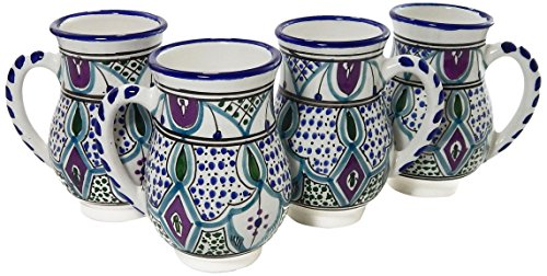 Le Souk Ceramique Malika Design Mugs, Large, Set of 4