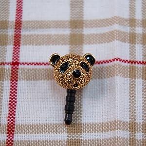 【クリックでお店のこの商品のページへ】LKYP-118 panda blackgold イヤホンピアス /スマホ イヤホンジャック
