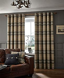 """Wool Look Woven Tartan Check Grey Beige Lined 66"""" X 108"""" - 168cm X 274cm Ring Top Curtains from Curtains"""