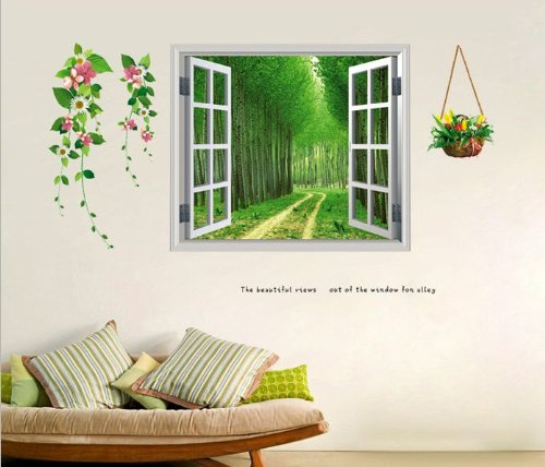 Tick Nick  ウォールステッカー ウォールペーパー シール (窓 北欧 木 空 海 川 自然) 4種類 / 壁紙シール 大きめサイズ DIY (小道 鉢植えとピンク花を添えて)
