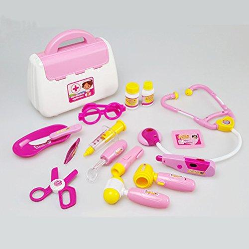 Médical Carrycase Pretend & Play Doctor Set Simulation médicale Docteur Outils Classique Garçons Filles Jeux de rôle (pink)