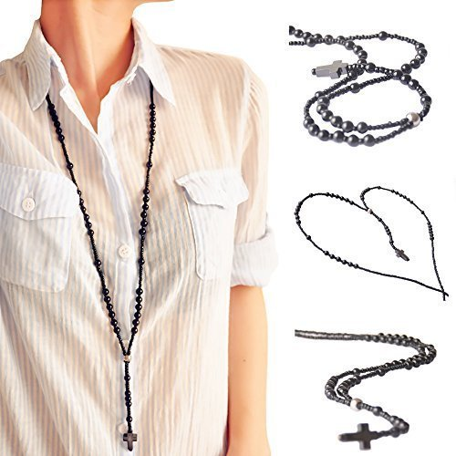 Mother's Day Gifts Bluetooth Necklace Headphones for Women Men Teen Girls Boys Black Beads