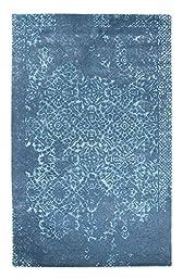 Area Rug, Gray Vintage Distressed Wool Handmade Carpet, 4-Feet X 6-Feet