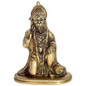 Kapasi Handicrafts Kapasi Handicrafts Sitting Hanuman Brass Idol S
