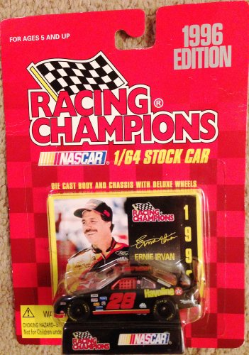 1996 Racing Champions Nascar 1/64 Stock Car #28 Ernie Irvan Havoline Car with Stand and Trading Card - 1