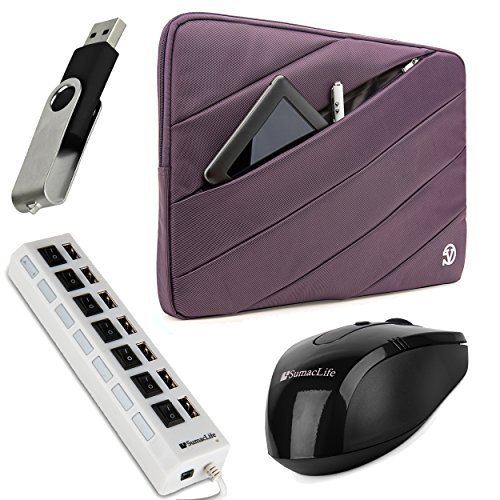Vangoddy Jam Series Bubble Padded Striped Sleeve For Acer Aspire 15.6-Inch Ultrabooks / Notebooks / Laptops (Purple) + Black Wireless Usb Mouse + Black 4Gb Thumbdrive + Universal 7 Port Usb Hub With On/Off Switch