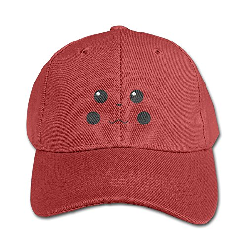 KIDDOS Youth Pika Face Pattern Baseball Cap Cotton Cap - Adjustable Hat Red