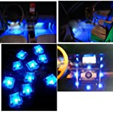 Vktech 12V 10 LED Auto Innenbeleuchtung Fußraum Innenraum Licht mit Zigarretenanzünder Blau