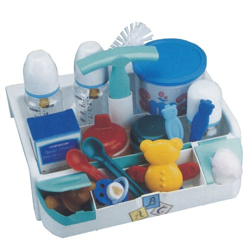 BABY - Nursery Utility Storage Organiser Box - White / Green (no contents)
