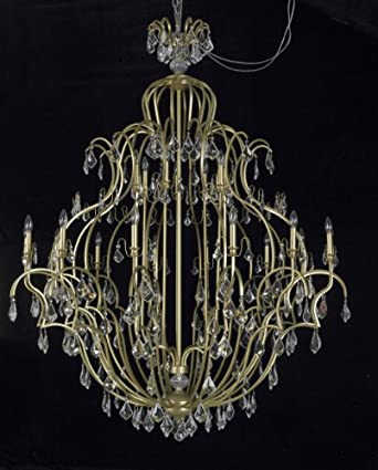 "21 Light French Gold Victorian Wrought Iron Chandelier with Crystal W42"" X H58"""