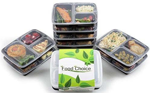 """Contenitori Alimentari stile """"Bento Box"""" - 3 Scomparti, Impilabili, adatti per Freezer, Lavastoviglie e Forno a Microonde, sicuri per Pranzi, Porzionamento e Conservazione del cibo (8 Confezioni)"""