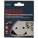 Bosch SDTW082 Detail Triangle, Hook & Loop Sanding Sheet, White, 80 Grit, 25 Pack