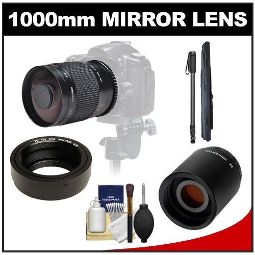Mirror Lens with 2x Teleconverter (=1000mm) + Monopod Kit for Olympus