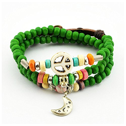 Winter's Secret Jade Green Button Adjustable Peace Pattern Alloy Moon Pendant Wood Beaded Bracelet (Ny Giants Tie Clip compare prices)