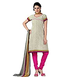 Anjali Presents Appealing Cream & Pink Coloured Printed Dress Material