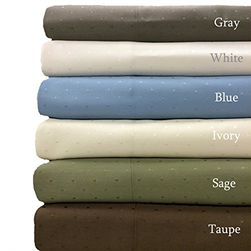 Sage- Woven Dots 600 Thread-Count Wrinkle Free California King-Size Sheet Set- Cotton Blend- 4Pc Bed Sheet Set (Deep Pocket) By Sheetsnthings front-1014539