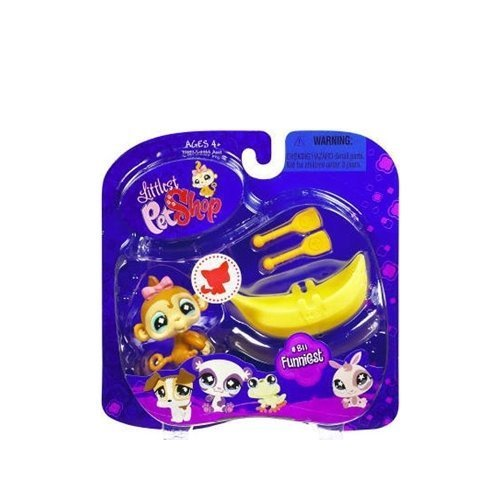 Littlest Pet Shop Assortment 'A' Series 2 Collectible Figure Monkey with Banana Boat by Hasbro