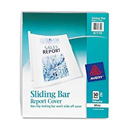Avery Consumer Products Products - Sliding Bar Report Cover, 20 Sheet Cap., 50/BX, CL Car., WE/CL - Sold as 1 BX - Report cover features a patented nonslip locking bar that won\'t slide off cover. The thick nonstick poly cover won\'t lift print off inserts
