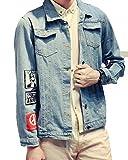 メンズ デニムジャケット デニムシャツ ブルゾン コート きれい系 カジュアル アメカジ ショート丈 バックプリント トレンド デート ドライブ アウトドア 体型カバー サイズ豊富 着痩せ (2XL)