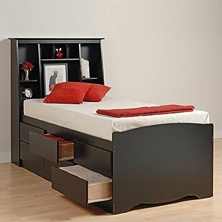 Prepac Black Sonoma Tall Queen Bookcase Platform Storage Bed