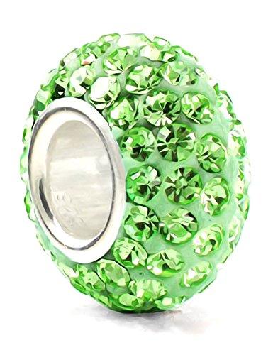 Pietra del mese di agosto, colore: verde Lime, in argento Sterling 925, con ciondolo e cristalli, colore: Verde