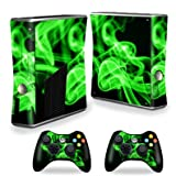 MightySkins Skin For X-Box 360 Xbox 360 S console - Green Flames | Protective, Durable, and Unique Vinyl Decal wrap cover | Easy To Apply, Remove, and Change Styles | Made in the USA