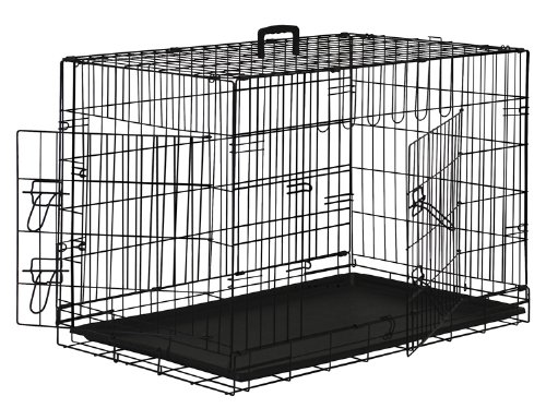 "Premium Folding Black Dog Crate W/ Abs Tray Pan - Double Door - 36"" Length front-41189"