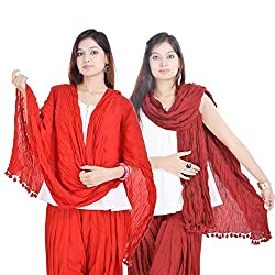 Kalrav Solid Red and Maroon Cotton Dupatta Combo