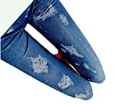 伸縮ストレッチ素材 ダメージデニム風レギンス / 破れジーンズ