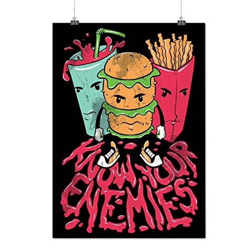Connaître Ennemi Vite Aliments Dessin animé Matte/Glacé Affiche A1 (84cm x 60cm) | Wellcoda