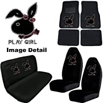 Big Sale Best Cheap Deals Play Girl Bunny Gem Crystal Studded Rhinestone Bling Car Truck SUV Floor Mats Bucket & Bench Seat Covers - Combo Kit Gift Set - 8PC