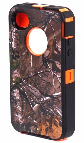 Huaxia Datacom® Heavy Duty Defender Hybrid Tough Grass Camo Shockproof Dirtproof Defender Case Cover Hard Case for Iphone 4/4s - Camouflage on Orange (Camo Iphone 4 Covers compare prices)