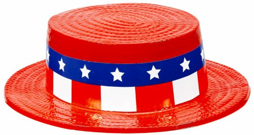 Patriotic Skimmer Hat (Red) Party Accessory