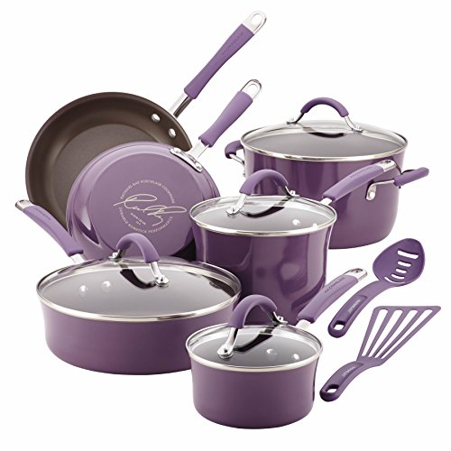 Rachael Ray Cucina Hard Porcelain Enamel Nonstick Cookware Set, 12-Piece, Lavender Purple (Kitchen Ware Purple compare prices)