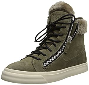 Giuseppe Zanotti Women's Shearling Trimmed Double Zip Fashion Sneaker,Velour Jasmin,9 M US