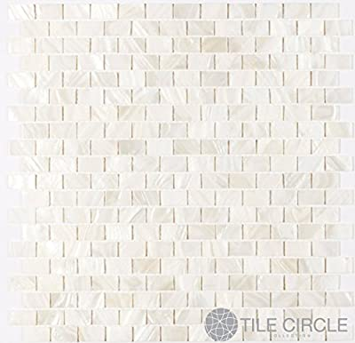 """Sample Size 4"""" x 4"""" Genuine Mother of Pearl Shell Tile White 5/8"""" x 1"""" Minibricks for Backsplash and Bathroom Walls and Floors from Tile Circle"""