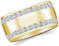 14k Yellow OR White Gold Round Cut Diamond Two Row Ladies Womens Channel Set Wide Wedding or…