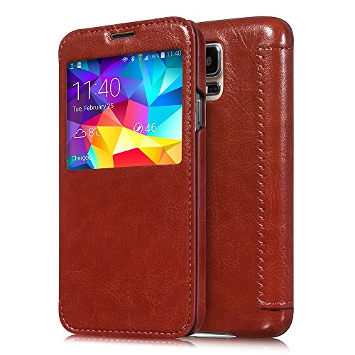 Moon Monkey Samsung Galaxy S5 S-View Flip Cover With Auto Wake Function (Brown)