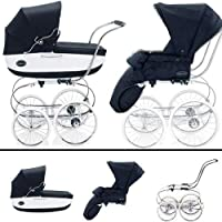 Inglesina SYSTM11VER Classica Pram and Seat with Raincover - Navy White by Inglesina
