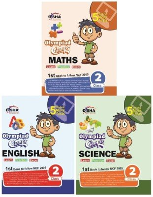 Olympiad Champs Science, Mathematics, English Class 2 with 15 Online Mock Tests (Set of 3 Books)