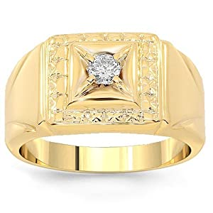 10K Yellow Gold Mens Diamond Solitaire Pinky Ring 0.13 Ctw - 7