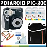Polaroid PIC-300 Instant Film Analog Camera (Black) with (3) Polaroid 300 Instant Film Packs of 10 + Polaroid Neoprene Pouch + Polaroid Cleaning Kit + Polaroid Neck & Wrist Strap
