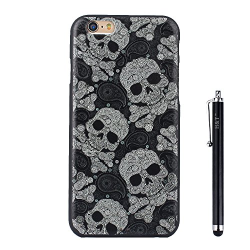 Iphone 6S Plus Case, H&T (TM) Unique 3d Embossed Painting Process Colorful Design Skin Soft IPhone 6s/6 Plus Protective Cover Case Slim Fit for IPhone 6s/6 Plus with Free Stylus (Skull)