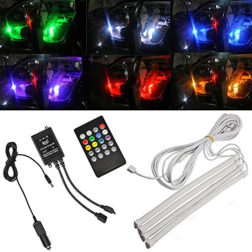 thunder 4 piece multi color 8 color led interior underdash lighting kit interior atmosphere. Black Bedroom Furniture Sets. Home Design Ideas