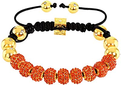 Royal Diamond Monaco Orange Crystal Shamballa Adjustable Pave Bracelet with Crystals [Jewellery]
