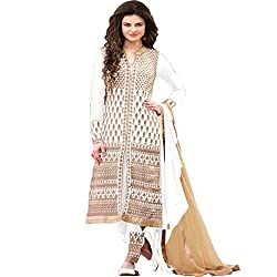 Creative Boutique White Coloured Georgette and Santoon Fancy Dress Material